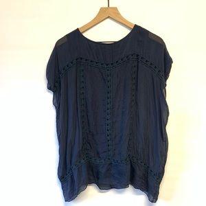 GIULIA sheer blue short sleeve 100% silk medium